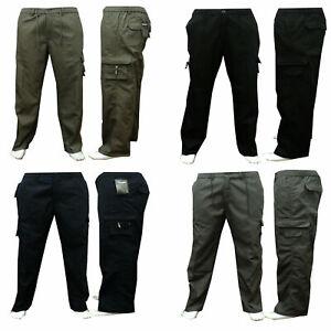 Mens Elasticated Fleece Polar Cargo Thermal Combat Work Cotton Trousers Botttoms
