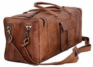 "28"" Large Handmade Vintage Leather Travel Duffel Luggage Overnight Weekender Bag"