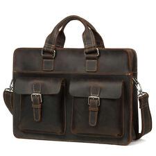 """Mens Leather Briefcase Bag Messenger Lawyer Handbag 15.6"""" Laptop Case Professor"""
