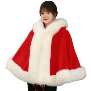 Women's Winter Bride Faux Fox Fur Cape Jacket Wedding Warm Cloak Wraps Poncho L