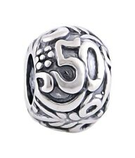 50 50th BIRTHDAY ANNIVERSARY Genuine 925 Sterling Silver Charm Bead European