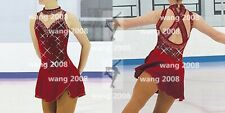 Figure Skating Dress Ice Skating Dress Competition Fashion wine red