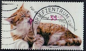 GERMANY 2004 Animals Domestic Cat Preening Series Youth: Cats 55+25 ct STAMP