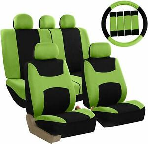 Car Seat Covers Green Front Rear Full Set for Auto SUV Truck Green