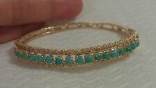 Vintage 14K Yellow Gold Turquoise Beads  Hinged with Clasp Bangle 13.8g