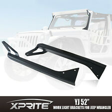 "52"" LED Light Bar Upper Windshield Mounting Brackets 76-96 Jeep Wrangler YJ CJ"