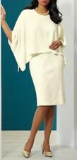 Ashro Cream Formal Wedding Church Kimia Cable Sweater Cape Dress S M XL 1X 2X 3X