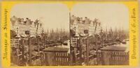 Germania Amburgo Vorsetzen Port c1860 Foto Charles Gaudin Stereo Albumina
