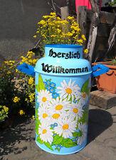 Milchkanne,10-L.-Bodenvase-handbemalt-Sommer/Winter-Blumen-blau-weiß-Schneemann