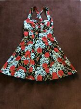 "Ladies ""Skull & Roses"" Retro Style Dress Size 12"