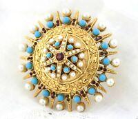 Vintage Coro Gold Mugal India Pearl Turquoise & Ruby Rhinestone Brooch Pin