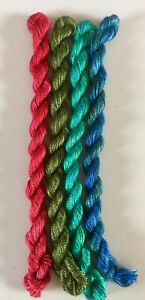 HAND DYED MERCERISED FINE COTTON EMBROIDERY THREADS - 4 SKEINS