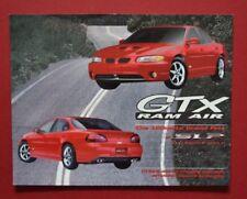 "2001-03 Pontiac Grand Prix GTX Ram Air Brochure Hero Card Vehicle Specs 11"" X 8"""