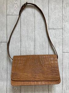 Genuine Leather Brown Real Crocodile Skin Handbag Vintage Croc Shoulder Bag