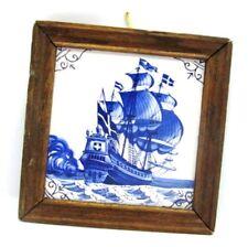 Blue & White Dutch Tile LARGE SAILING SHIP with Cross Emblem Framed