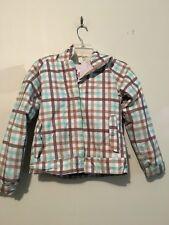 ROXY Teal Green White Plaid Check Stripe Kids Girls Coat Winter Jacket Size S