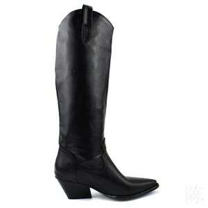 New Women's Ladies Knee Thigh High Boots Pointy Toe Pull On Cowboy Casual Shoes
