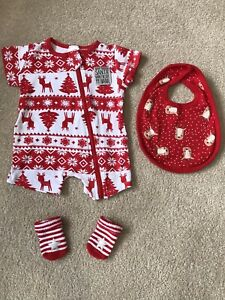 Baby 0-3 Months Red And White Christmas 3 Piece Reindeer Outfit Santa Nana Msg