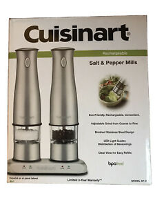 Cuisinart SP-2 Electric Rechargeable Salt & Pepper Mill Stainless Steel, NEW!