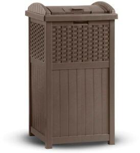 33-Gal. Outdoor Resin Wicker Trash Can Hideaway Garden Patio Garbage Brown Bags