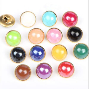 20 Pcs 10mm Pearl Imitation Buttons Sewing Craft Candy Colors Costume Decorating