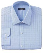 Club Room Slim Fit Blue Glen Plaid 100% Cotton Easy Care Dress Shirt 15.5 32/33