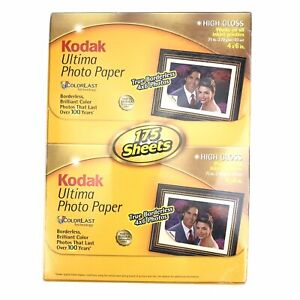 """Kodak Ultima Photo Paper 175 Sheets 4x6"""" High Gloss For All Inkjets Factory Seal"""