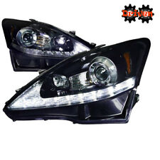 06-09 Lexus IS250/350 LED DRL Switchback Turn Signal Projector Headlights Smoked