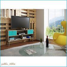 Mid Century Modern Tv Stand Media Console Center Display Woodgrain Oak Aqua