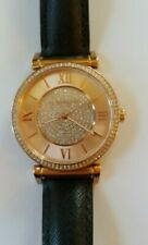 NEW PRICE!  Michael Kors Ladies Crystal Watch with Black Leather Band