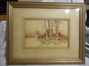 Vintage Framed Watercolor By Julian (Walbridge) Rix 1850-1903 Fall Scene Colors