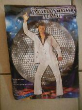 Mens Saturday Night Fever Travolta 3pc Halloween Costume Suit, New, L(42-44),Whi