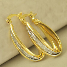 Gold Filled U-Shape Womens Hoop earing Fashion Retro style 14K Yellow White