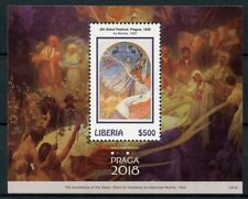 Liberia 2018 MNH Praga 2018 Alphonse Mucha 1v S/S II Art Paintings Stamps