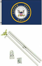 2x3 2'x3' U.S. Navy Emblem Crest Flag White Pole Kit Set