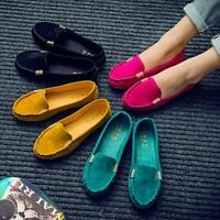 Womens Suede Flat Shoes Loafers Ladies Ballerina Ballet Slip On Moccasin Leisure