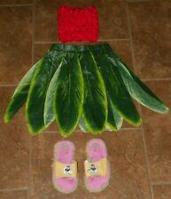 Disney's LILO & STITCH Halloween COSTUME Leaf SKIRT & Top 6 7 8 SANDALS 11-12