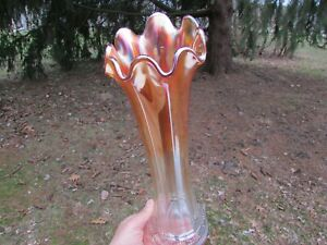 "Northwood FLUTE ANTIQUE CARNIVAL GLASS 13"" MID-SIZED VASE~MARIGOLD~VERY BRIGHT!"