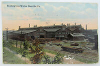 VINTAGE POSTCARD READING IRON WORKS DANVILLE PA railroad railway tracks