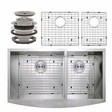 "20"" x 33"" x 9"" Apron Farmhouse Handmade Dual Bowl Stainless Steel Kitchen Sink"