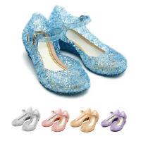 Girls Kids Fashion Shinny Princess Elsa Dress Up Sandals Princess Jelly Shoes