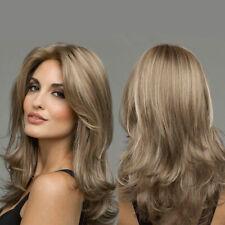 Women Synthetic Hair Wigs Light Blonde Wavy Full Wig Heat Resistant Fancy Dress