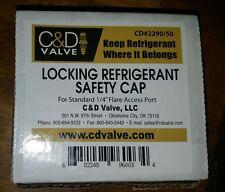 "1/4"" flare access port Locking Refrigerant Safety Caps , USA MADE  ( 50 pieces)"