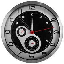 "TKF 12"" Aluminum Wall Clock with Car Racing Dual Dial Thermometer and Hygrometer"