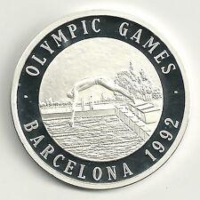 Medaille Olympische Spiele 1992 999er Silber Schwimmer Zertifikat PP