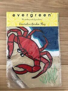 Crab and Ocean / Seashore / Nautical Evergreen Sculpted Garden Flag