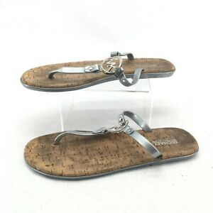 Michael Kors Casual Thong Flats Sandals MK Charm Cork Sole Jelly Grey Womens 11