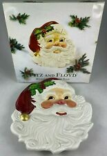 Fitz And Floyd Christmas Holiday Santa Canape Plate With Original Box Excellent