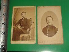 JC271 Vintage LOT of 2 Cabinet Card Photos Military Men C. Schmidt Wismar