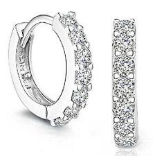 SANNYSIS 1Pair Beautiful Silvering Rhinestones Hoop Stud Earrings For Women
